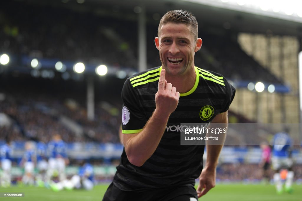 Gary Cahill of Chelsea celebrates scoring the second goal during the Premier League match between Everton and Chelsea at Goodison Park on April 30, 2017 in Liverpool, England.