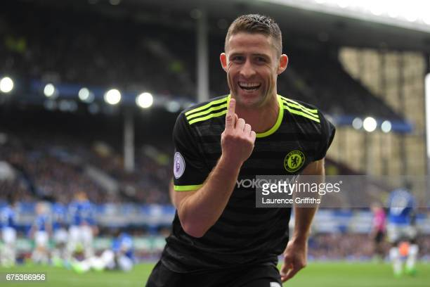 Gary Cahill of Chelsea celebrates scoring the second goal during the Premier League match between Everton and Chelsea at Goodison Park on April 30...