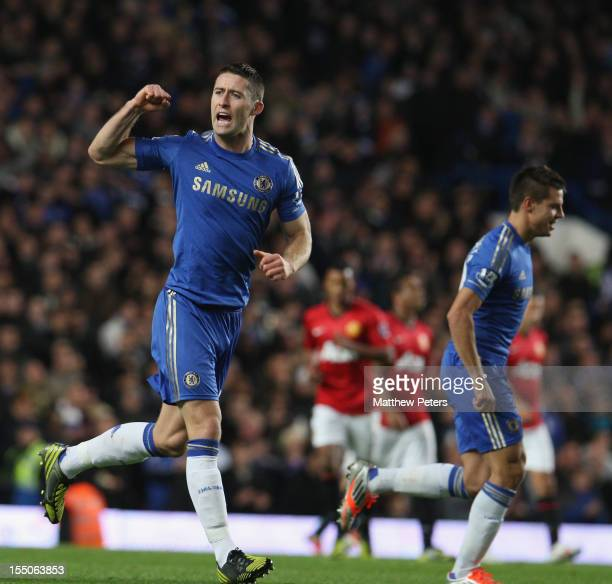 Gary Cahill of Chelsea celebrates scoring their second goal during the Capital One Cup Fourth Round match between Chelsea and Manchester United at...