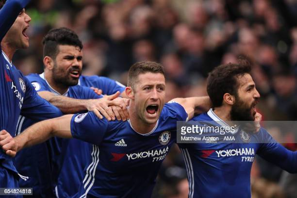 Gary Cahill of Chelsea celebrates soring a goal to make the score 12 during the Premier League match between Stoke City and Chelsea at Bet365 Stadium...