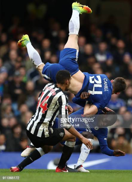 Gary Cahill of Chelsea collides with teammate N'Golo Kante and Isaac Hayden of Newcastle United during The Emirates FA Cup Fourth Round match between...