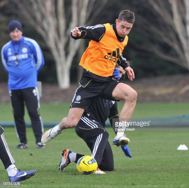 Gary Cahill of Chelsea during a training session at the Cobham training ground on January 17 2012 in Cobham England