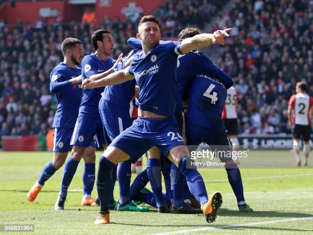 Gary Cahill of Chelsea during the Premier League match between Southampton and Chelsea at St Mary's Stadium on April 14 2018 in Southampton England...