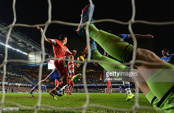 Gary Cahill of Chelsea heads his team's second goal as goalkeeper Artur Boruc of Southampton is stranded in the goal during the Barclays Premiership...
