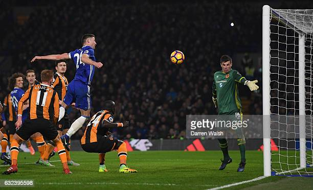 Gary Cahill of Chelsea heads the ball to score his side's second goal past Eldin Jakupovic of Hull City during the Premier League match between...