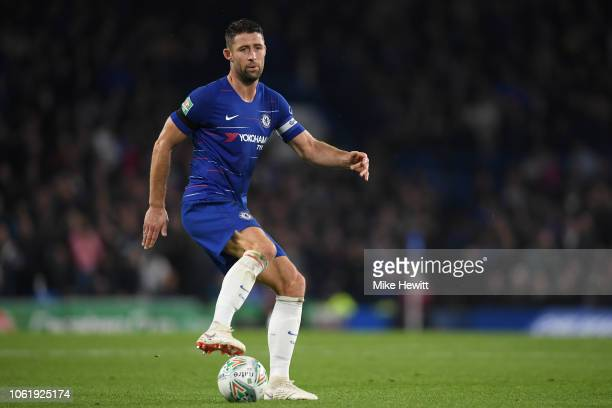 Gary Cahill of Chelsea in action during the Carabao Cup Fourth Round match between Chelsea and Derby County at Stamford Bridge on October 31 2018 in...