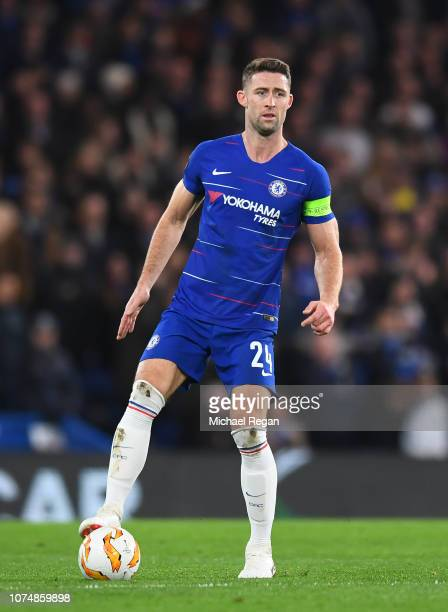 Gary Cahill of Chelsea in action during the UEFA Europa League Group L match between Chelsea and PAOK at Stamford Bridge on November 29 2018 in...