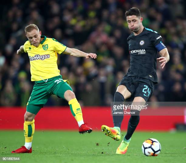 Gary Cahill of Chelsea is challenged by Alex Pritchard of Norwich City during The Emirates FA Cup Third Round match between Norwich City and Chelsea...