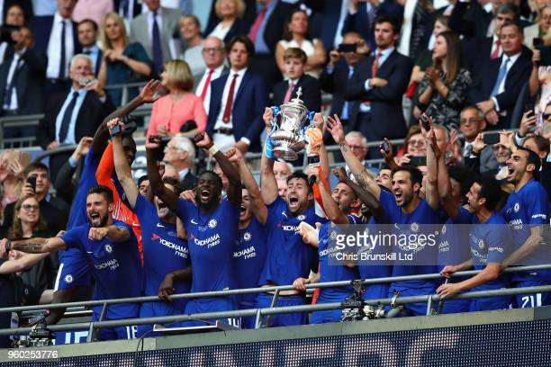 Gary Cahill of Chelsea lifts the FA Cup trophy after his side won during the Emirates FA Cup Final between Chelsea and Manchester United at Wembley...