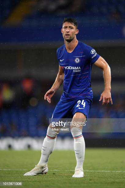 Gary Cahill of Chelsea looks on during the preseason friendly match between Chelsea and Lyon at Stamford Bridge on August 7 2018 in London England