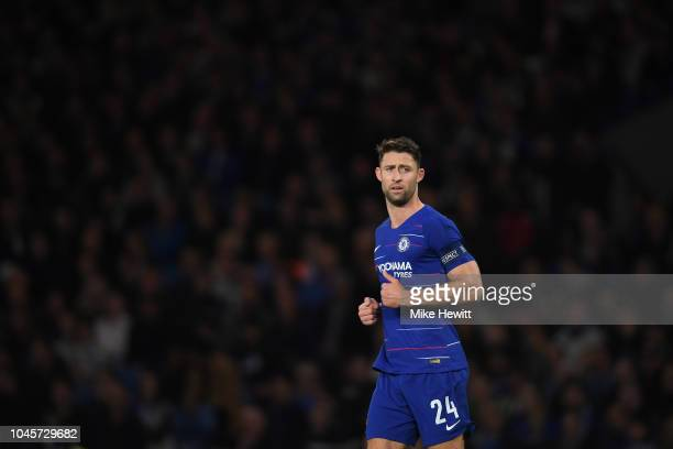 Gary Cahill of Chelsea looks on during the UEFA Europa League Group L match between Chelsea and Vidi FC at Stamford Bridge on October 4 2018 in...