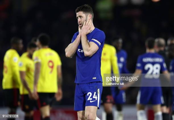 Gary Cahill of Chelsea reacts during the Premier League match between Watford and Chelsea at Vicarage Road on February 5 2018 in Watford England