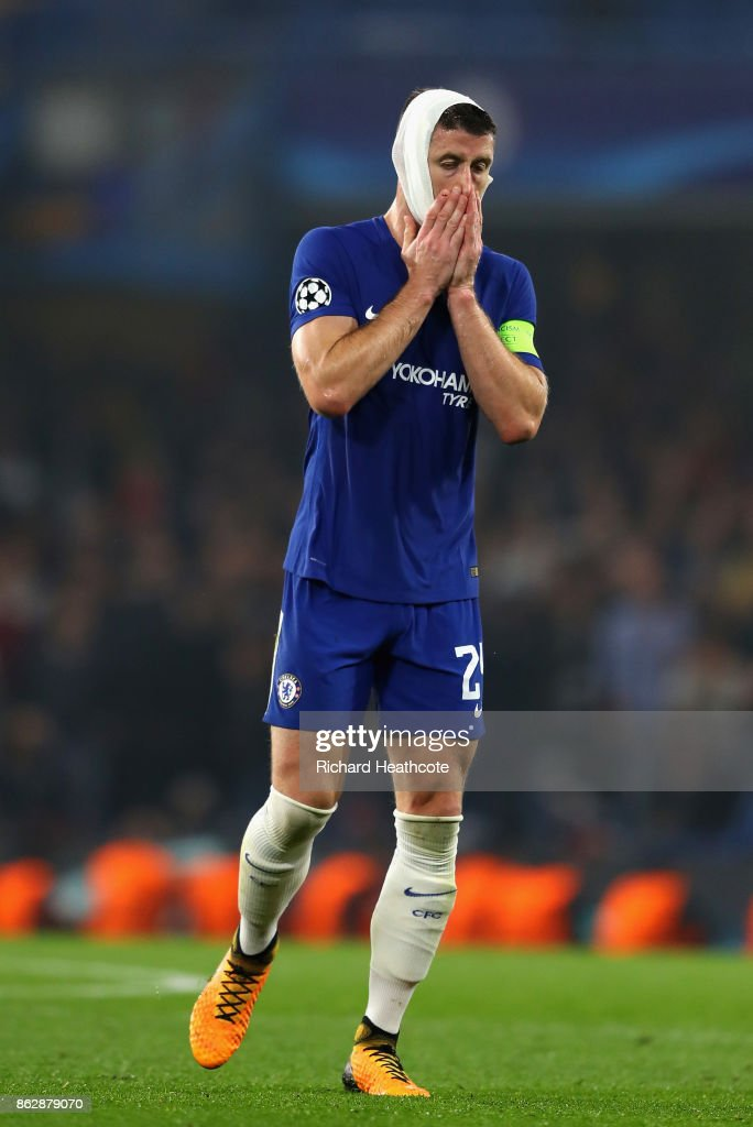 Gary Cahill of Chelsea reacts during the UEFA Champions League group C match between Chelsea FC and AS Roma at Stamford Bridge on October 18, 2017 in London, United Kingdom.