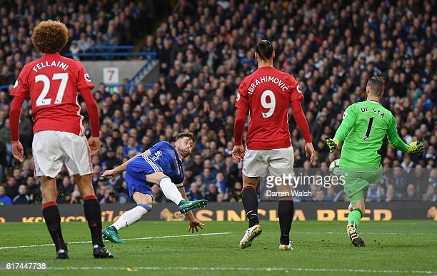 Gary Cahill of Chelsea scores his sides second goal during the Premier League match between Chelsea and Manchester United at Stamford Bridge on...