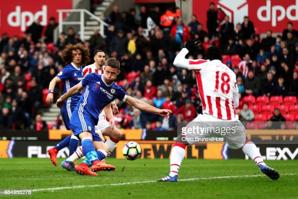 Gary Cahill of Chelsea scores his side's second goal during the Premier League match between Stoke City and Chelsea at Bet365 Stadium on March 18...