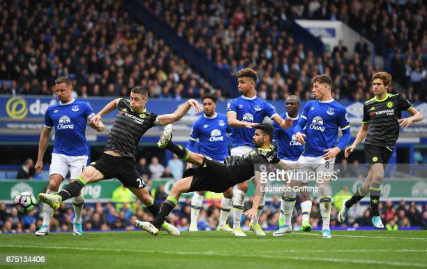 Gary Cahill of Chelsea scores his sides second goal during the Premier League match between Everton and Chelsea at Goodison Park on April 30 2017 in...