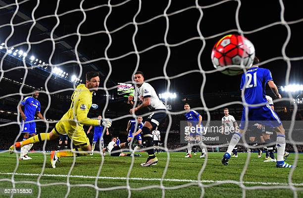 Gary Cahill of Chelsea scores his team's first goal during the Barclays Premier League match between Chelsea and Tottenham Hotspur at Stamford Bridge...