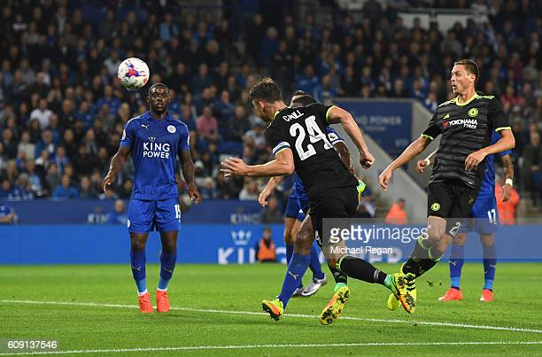 Gary Cahill of Chelsea scores his team's opening goal during the EFL Cup Third Round match between Leicester City and Chelsea at The King Power...
