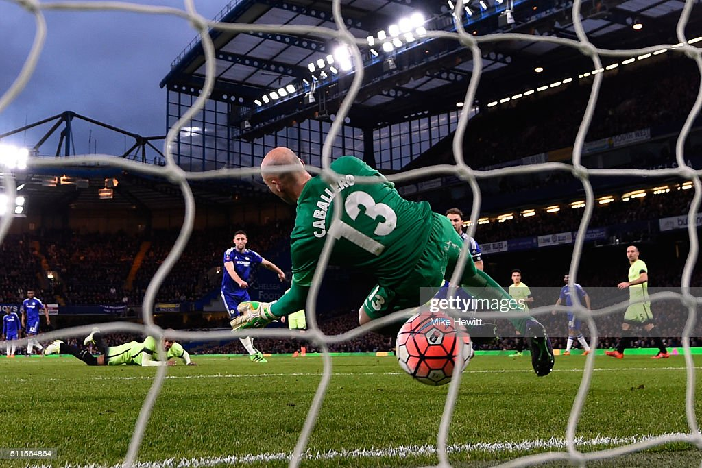 Gary Cahill of Chelsea scores his team's third goal past goalkeeper Wilfredo Caballero of Manchester City during The Emirates FA Cup fifth round match between Chelsea and Manchester City at Stamford Bridge on February 21, 2016 in London, England.