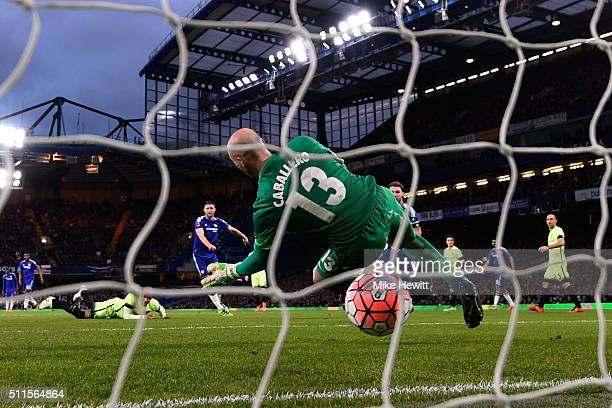 Gary Cahill of Chelsea scores his team's third goal past goalkeeper Wilfredo Caballero of Manchester City during The Emirates FA Cup fifth round...
