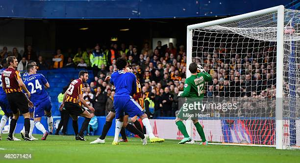Gary Cahill of Chelsea scores the opening goal during the FA Cup Fourth Round match between Chelsea and Bradford City at Stamford Bridge on January...