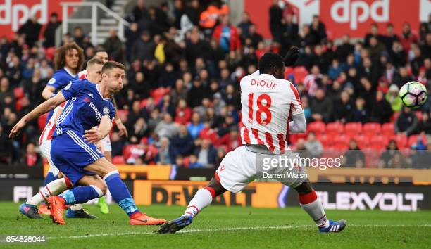 Gary Cahill of Chelsea scores their second goal during the Premier League match between Stoke City and Chelsea at Bet365 Stadium on March 18 2017 in...