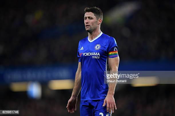 Gary Cahill of Chelsea wearing a rainbow colour captain's armband is seen during the Premier League match between Chelsea and Tottenham Hotspur at...