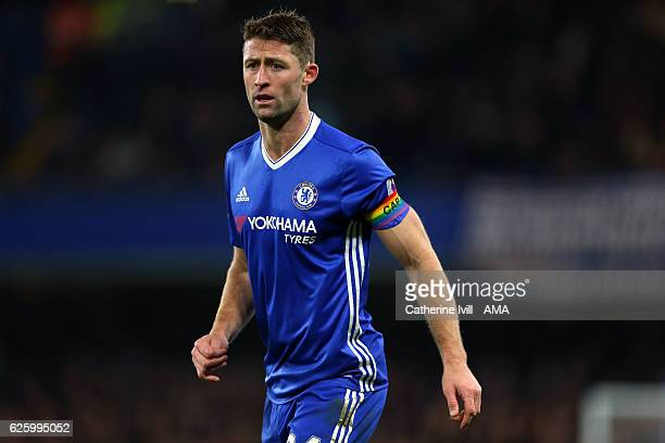 Gary Cahill of Chelsea wearing a rainbow colour captains armband during the Premier League match between Chelsea and Tottenham Hotspur at Stamford...