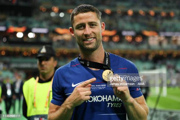 Gary Cahill of Chelsea with his winners medal after winning the UEFA Europa League Final between Chelsea and Arsenal at Baku Olimpiya Stadionu on May...