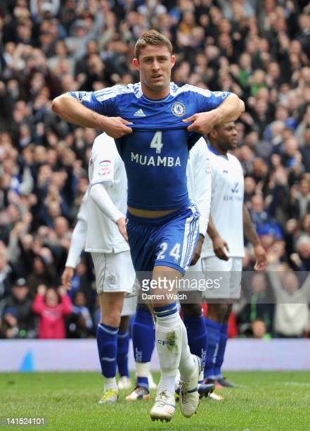 Gary Cahill of Chelsea's solemn celebration in tribute to Fabrice Muamba after he scores the opening goal during the FA Cup Sixth Round match between...