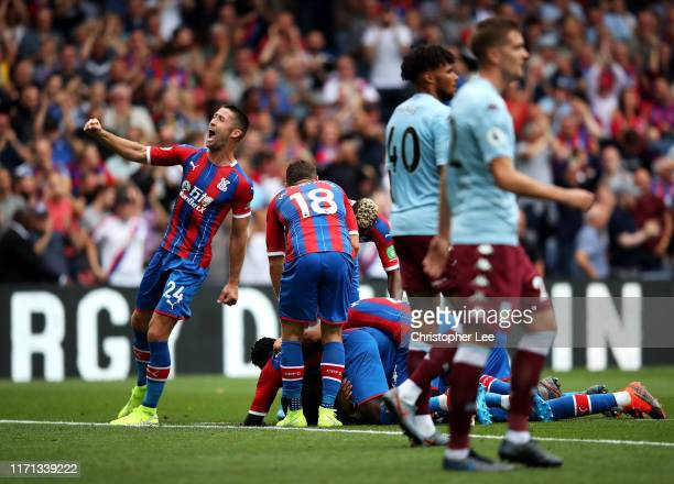 Gary Cahill of Crystal Palace celebrates after his team's first goal during the Premier League match between Crystal Palace and Aston Villa at...