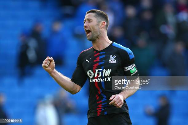 Gary Cahill of Crystal Palace celebrates victory during the Premier League match between Brighton Hove Albion and Crystal Palace at American Express...