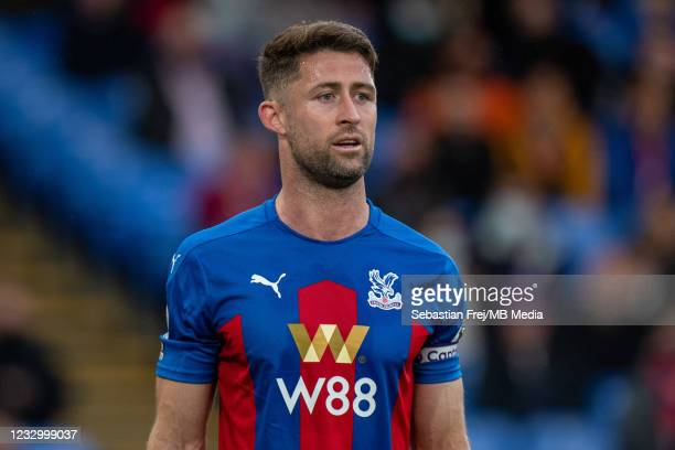 Gary Cahill of Crystal Palace looks on during the Premier League match between Crystal Palace and Arsenal at Selhurst Park on May 19, 2021 in London,...