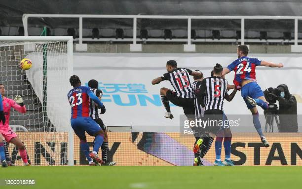 Gary Cahill of Crystal Palace scores their side'ssecond goal during the Premier League match between Newcastle United and Crystal Palace at St. James...