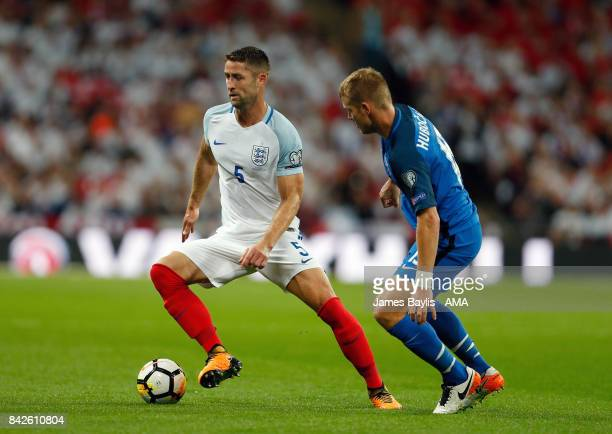 Gary Cahill of England and Tomas Hubocan of Slovakia during the FIFA 2018 World Cup Qualifier between England and Slovakia at Wembley Stadium on...