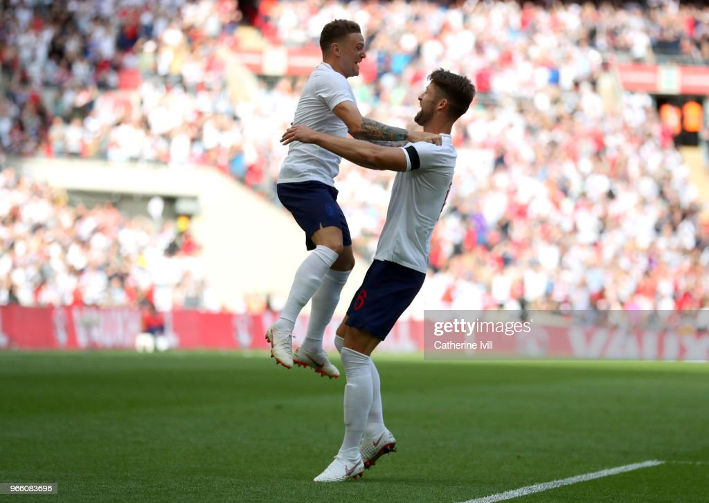 Gary Cahill of England (R) celebrates scoring his sides first goal with Kieran Trippier of England during the International Friendly match between England and Nigeria at Wembley Stadium on June 2, 2018 in London, England.