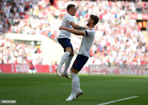 Gary Cahill of England celebrates scoring his sides first goal with Kieran Trippier of England during the International Friendly match between...