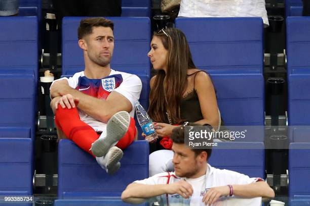 Gary Cahill of England celebrates with his wife Gemma Acton following his sides victory in the 2018 FIFA World Cup Russia Quarter Final match between...