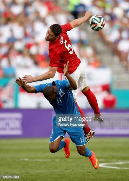 Gary Cahill of England challenges Jerry Bengtson of Honduras during the International Friendly match between England and Honduras at the Sun Life...