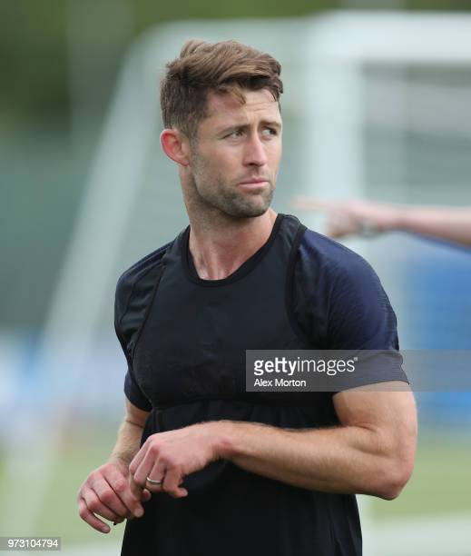 Gary Cahill of England during a training session as part of the England media access at Spartak Zelenogorsk Stadium ahead of the FIFA World Cup 2018...