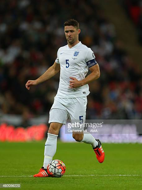 Gary Cahill of England during the UEFA EURO 2016 Qualifier match between England and Estonia at Wembley Stadium on October 9 2015 in London United...
