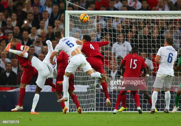 Gary Cahill of England heads in their second goal during the international friendly match between England and Peru at Wembley Stadium on May 30 2014...