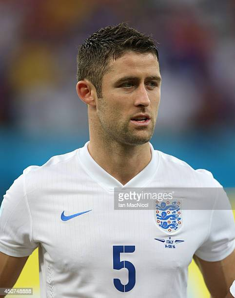Gary Cahill of England looks on during the anthems prior to the opening Group D match of the 2014 World Cup between England and Italy at Arena...