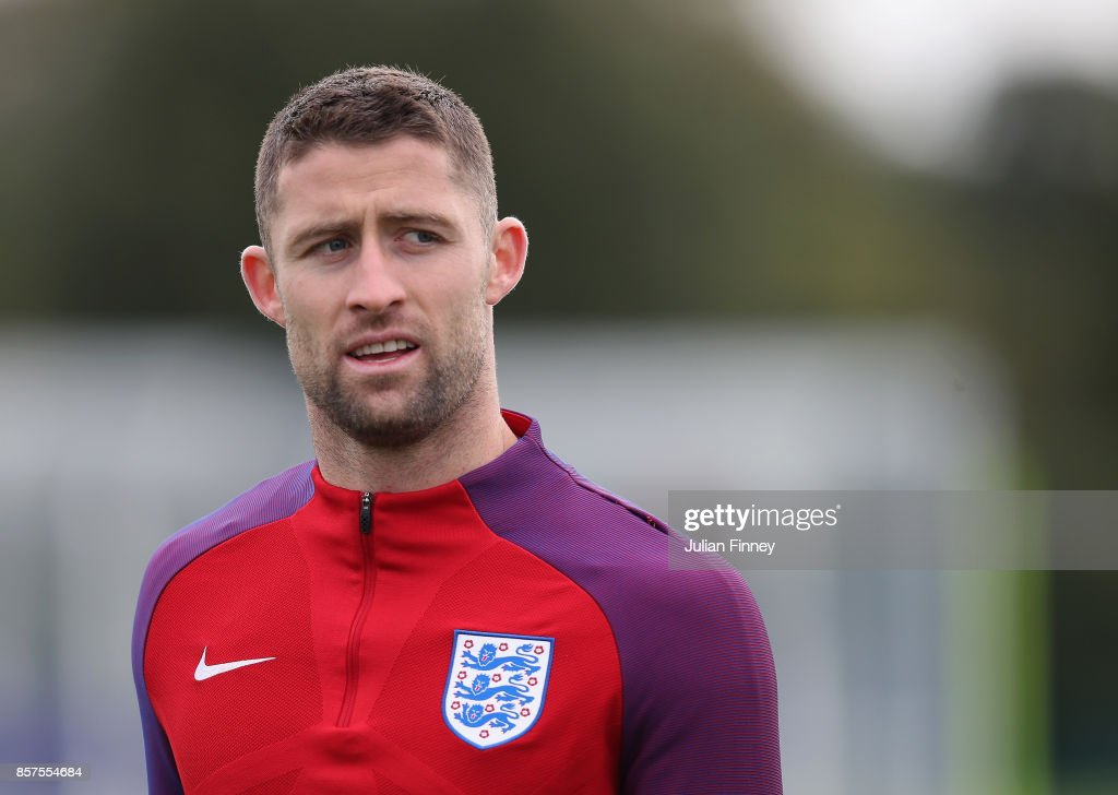 Gary Cahill of England looks on in a warm up during an England training session at Hotspur Way on October 4, 2017 in Enfield, England.