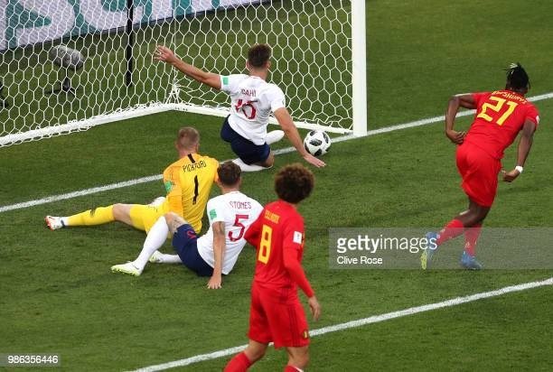 Gary Cahill of England makes an off the line clearance during the 2018 FIFA World Cup Russia group G match between England and Belgium at Kaliningrad...
