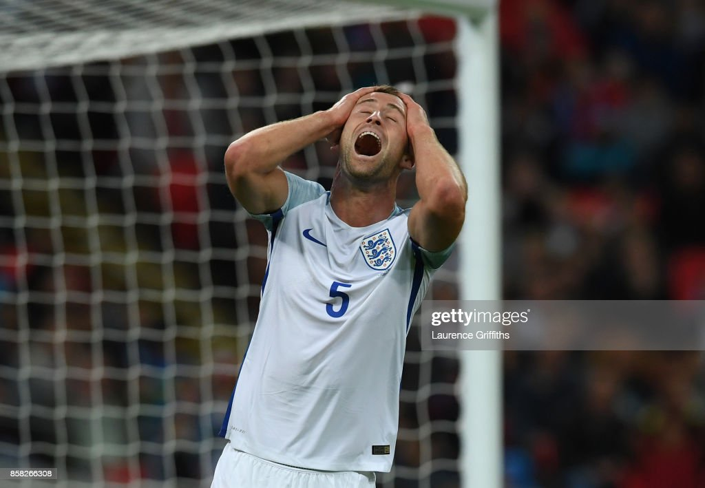 Gary Cahill of England reacts after a missed chance during the FIFA 2018 World Cup Qualifier between England and Slovenia at Wembley Stadium on October 5, 2017 in London, England.