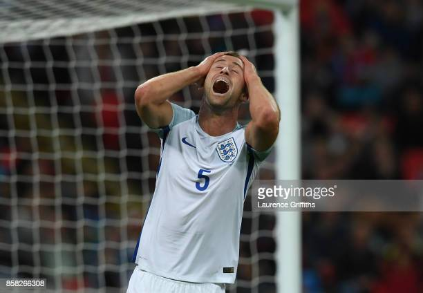 Gary Cahill of England reacts after a missed chance during the FIFA 2018 World Cup Qualifier between England and Slovenia at Wembley Stadium on...
