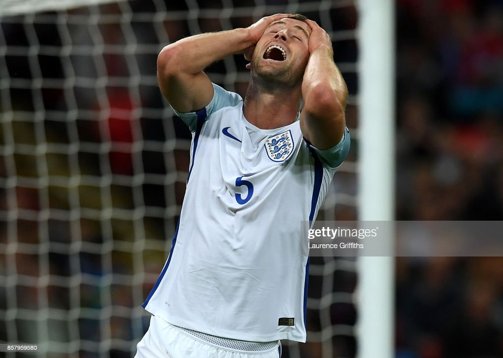 Gary Cahill of England reacts during the FIFA 2018 World Cup Group F Qualifier between England and Slovenia at Wembley Stadium on October 5, 2017 in London, England.