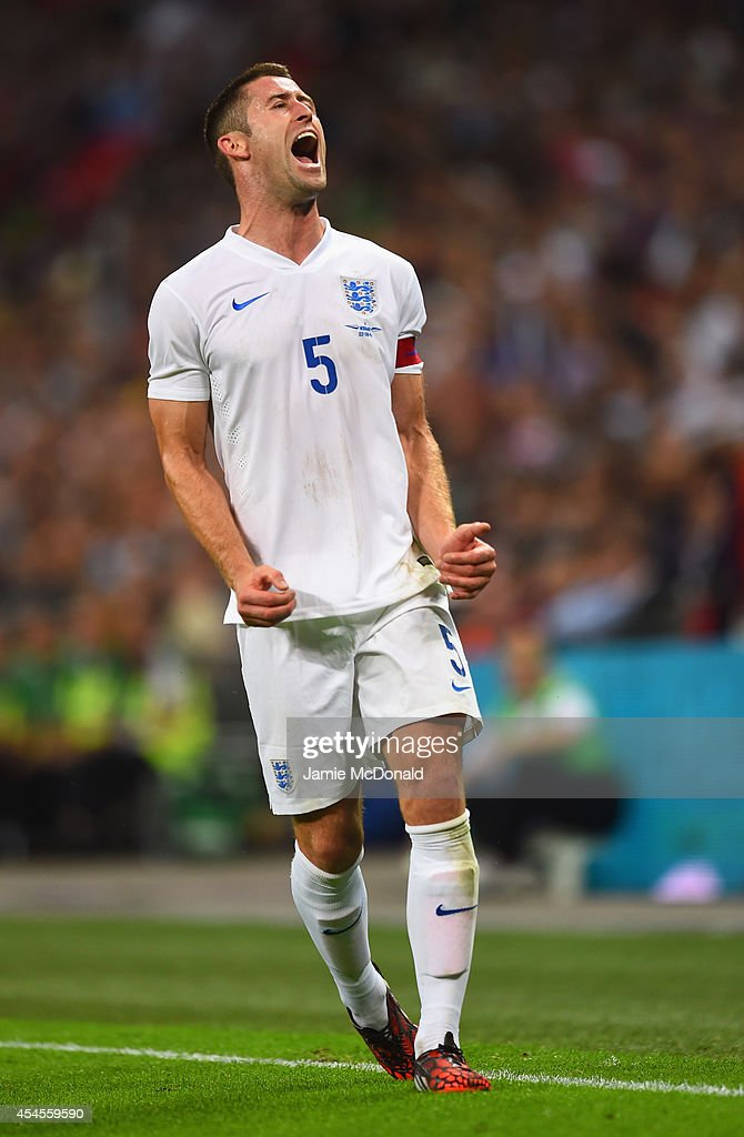 Gary Cahill of England reacts during the International friendly match between England and Norway at Wembley Stadium on September 3, 2014 in London, England.