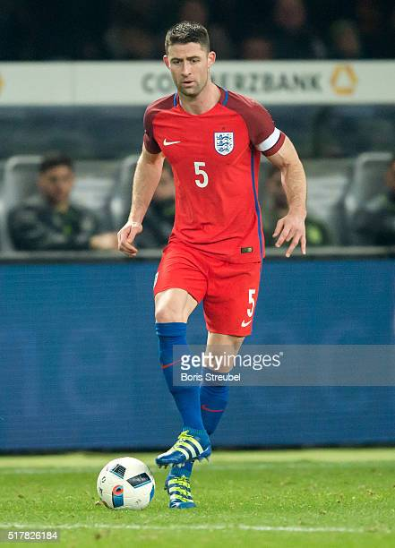 Gary Cahill of England runs with the ball during the International Friendly match between Germany and England at Olympiastadion on March 26 2016 in...